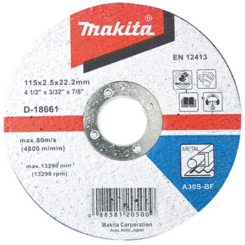 DISCO CORTE METAL 4-1/2 (115 X 2,5 X 22,23 mm.) RECTO / A30S-BF